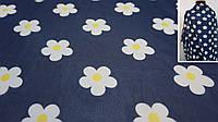 Ткань легкий шифон тёмно-синего цвета с цветами, фото 1