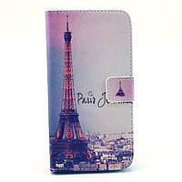 Чехол книжка для Samsung Galaxy Grand 2 Duos G7102, G7100, G7105 боковой с отсеком, Париж и Эйфелева башня
