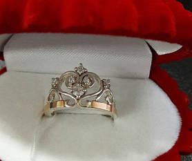 Серебряное кольцо Корона  925 с золотом  375 пробы