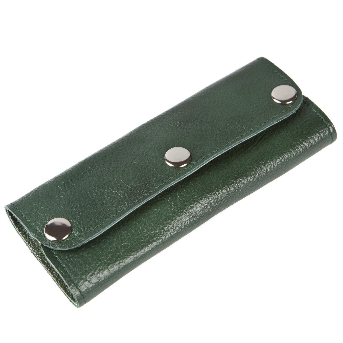 Ключница-портмоне на 6 ключей BagHouse кожаная 15х6,5х2,5    клКН15зел