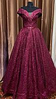 Вечернее длинное платье на выпускной цвета марсал