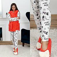 Шикарный домашний женский комплект 4ка: пижама Микки Маус+махровая жилетка+махровые балетки р.42-48. Арт-4834