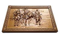 Картина резная из дерева Три богатыря
