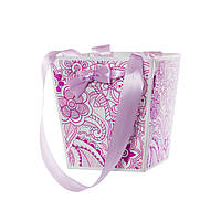 Бумажная сумка - трапеция для цветов Цветок сиреневый