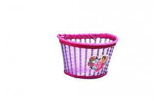 """Корзина детская велосипедная Crossride 12"""" ПЛ, CR-BS01-PRINCESS, плетёная Сиреневая"""