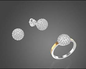 Комплект Триумф из серебра 925 пробы с золотом с камнями сваровски