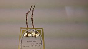 Золотые серьги-протяжки Сердечки 585 пробы