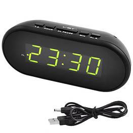 Часы настольные с будильником VST-712-2 с зеленой подсветкой, USB