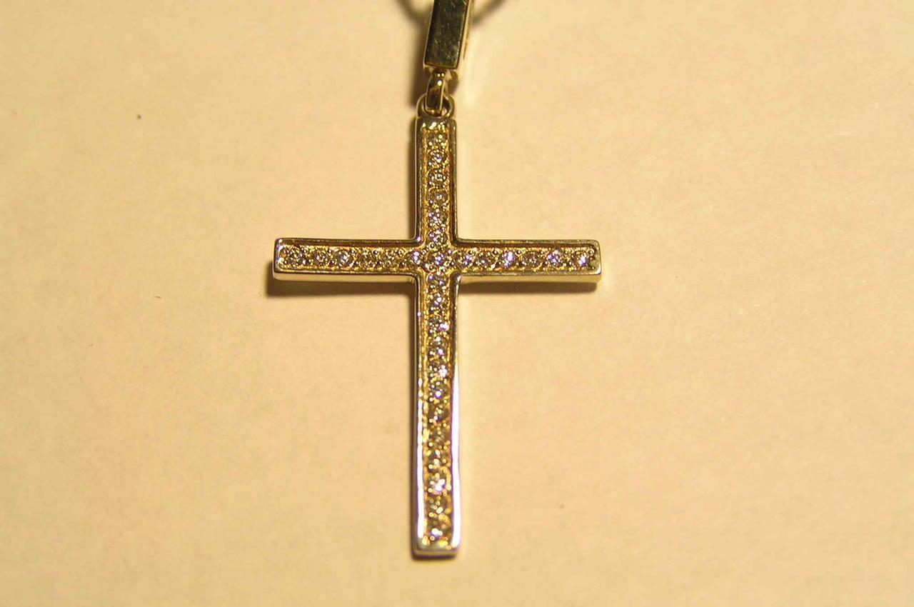Золотой крест 585 пробы с фианитами