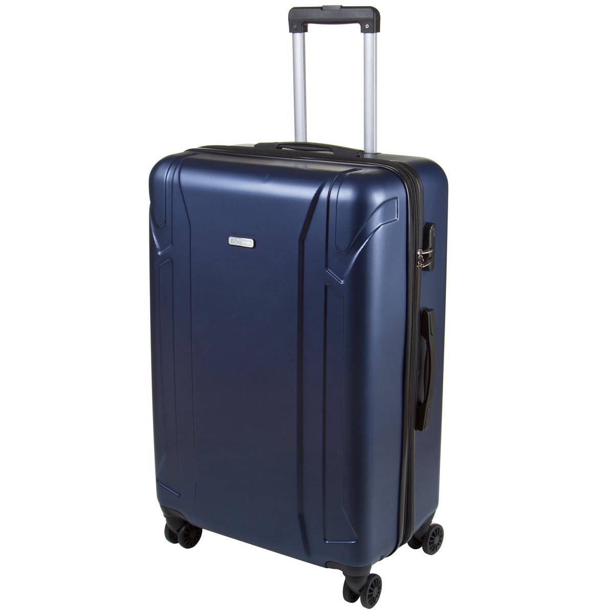 Чемодан OULANDO большой, пластиковый с расширением, 4 колеса 47х72х29(+3) синий ксЛ722-28син
