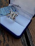 Серебряное кольцо счастье  925 с золотом  375 пробы, фото 4