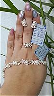 Комплект Нежность из серебра 925 пробы с жемчугом  ( Серьги + кольцо + браслет) с золотыми вставками