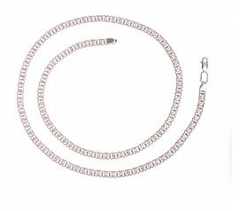 Серебряная цепь 925 пробы арабский бисмарк с розовыми фианитами