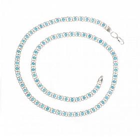 Серебряная цепь 925 пробы арабский бисмарк с голубыми фианитами