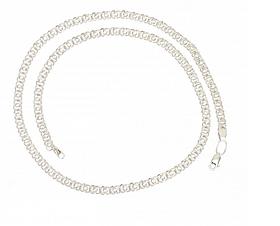 Серебряная цепь 925 пробы арабский бисмарк с белыми фианитами
