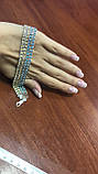Серебряный браслет тройной арабка с белыми цирконами, фото 2