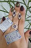 Комплект Ромб из серебра 925 пробы с золотыми вставками 375 пробы, фото 2