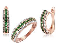 Серебряный набор серьги и кольцо с позолотой 585 пробы с фианитами,размеры кольца 17.1,17.8,18.1