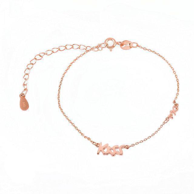 Позолоченный браслет Поцелуйчик  585 пробы, на серебре