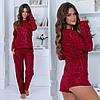 Красива жіноча домашня модна флісова затишна піжама трійка: кофта+штани+шорти р. 42-48. Арт-4838