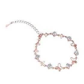 Позолоченный браслет Бабочки с фианитами  585 пробы, на серебре, безразмерный