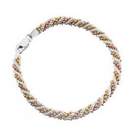 Позолоченный браслет жгут 3х цветка  585 пробы, на серебре 20 см