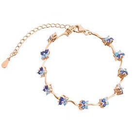 Позолоченный браслет Бабочки с голубыми фианитами  585 пробы, на серебре, безразмерный