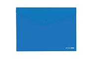 """Папка-конверт прозрачная на кнопке Economix, 180 мкм, фактура """"глянец"""", синяя"""