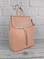 Красивый рюкзак- сумка Valensiy 83005 пудра с камнями