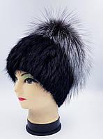 Женская меховая шапка Klaus Ондатра Кубанка Маркиза с Бубоном из Чернобурки 55-58 Чёрный(18/141)