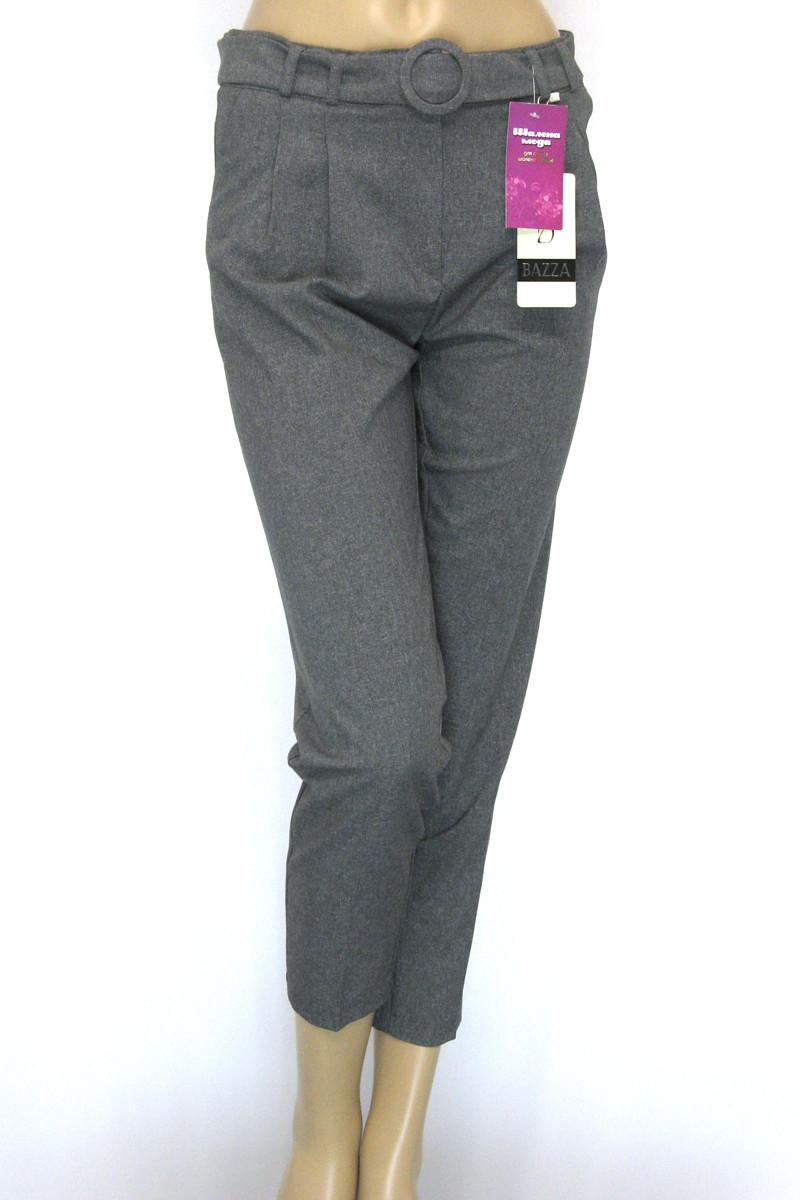 Жіночі сірі брюки  з високою посадкою