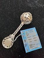 Серебряная погремушка 925 пробы на рождение ребенка