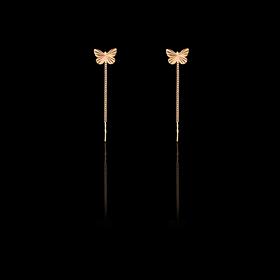 Золотые серьги-протяжки Бабочки  585 пробы