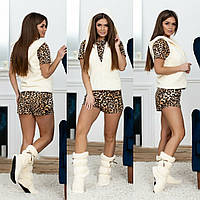 Удобный женский домашний красивый костюм 4ка Лео зима-лето: футболка+шорты+сапожки+жилетка  р.42-48. Арт-4839, фото 1