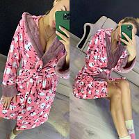 Женский теплый плюшевый короткий халат с капюшоном, фото 1