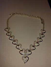 Полу-колье на цепочке Сердце из серебра 925 пробы с золотыми вставками 375 пробы