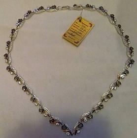Колье Бутон из серебра 925 пробы с золотыми вставками 375 пробы