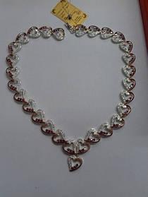 Колье Сердце из серебра 925 пробы с золотыми вставками 375 пробы
