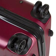 Чемодан  OULANDO средний бордовый пластик ABS с расширением, 4 колеса 43х68х26(+3)  ксЛ722-24бор, фото 3