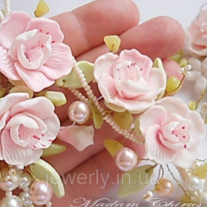 Комплект украшений с жемчугом и цветами