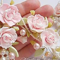 Комплект украшений с жемчугом и цветами, фото 1