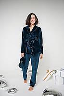 Велюровая пижама, Домашняя одежда из плюшевого велюра. Рубашка на запах и штаны.