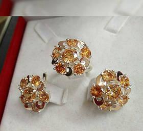 Комплект Радужный из серебра 925 пробы с золотыми вставками 375 пробы