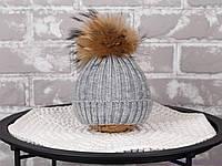 """Вязаная шапка для ребенка """"Pumpkin"""", серая, фото 1"""