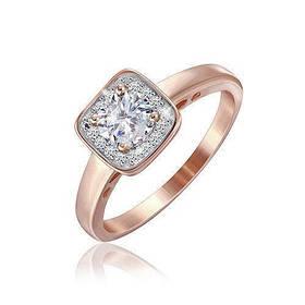Позолоченое кольцо Квадро 585 пробы на серебре 925 пробы