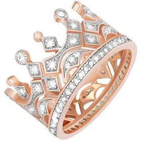Позолоченое кольцо Царская Корона 585 пробы на серебре 925 пробы