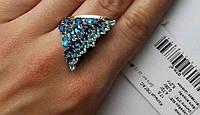 Серебряное кольцо Крыло 925 с золотом  375 пробы
