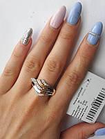 Серебряное кольцо Кокетка 925 с золотом  375 пробы
