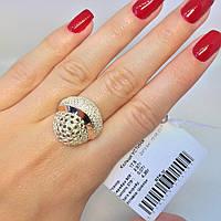 Серебряное кольцо Устинья 925 с золотом  375 пробы