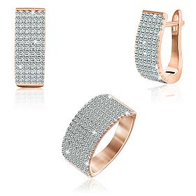 Комплект из серебра серьги с кольцом с позолотой прямоугольной формы с бриллиантовыми фианитами Лукреция